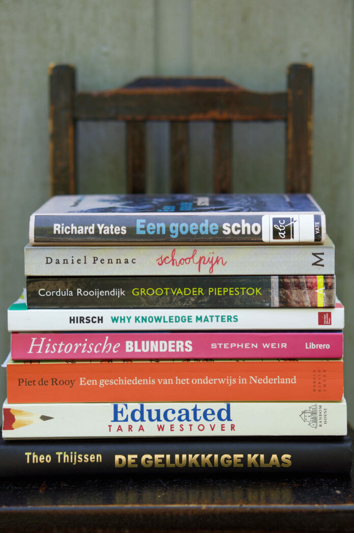 Pile of books about education